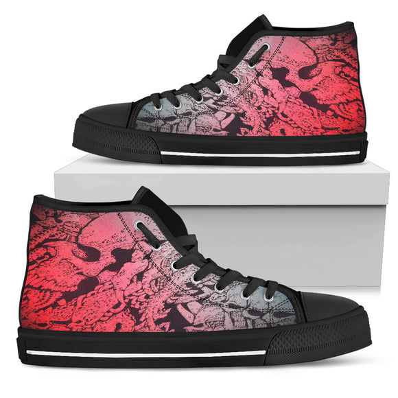 Women's High Top Shoe - Red Skull