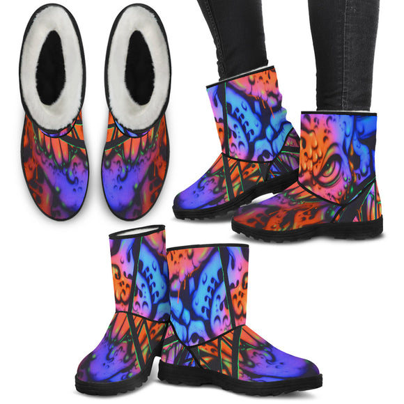 Faux Fur Boots - Gooey Face Fractal - Express Shipping