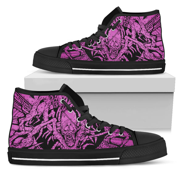 Men's High Top Shoe - Purple Ghoul