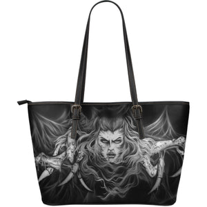 Large Leather Tote - Spider Woman b/w