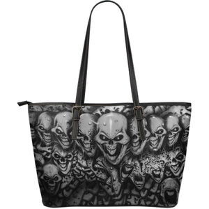 Large Leather Tote - Skull Lineup b/w