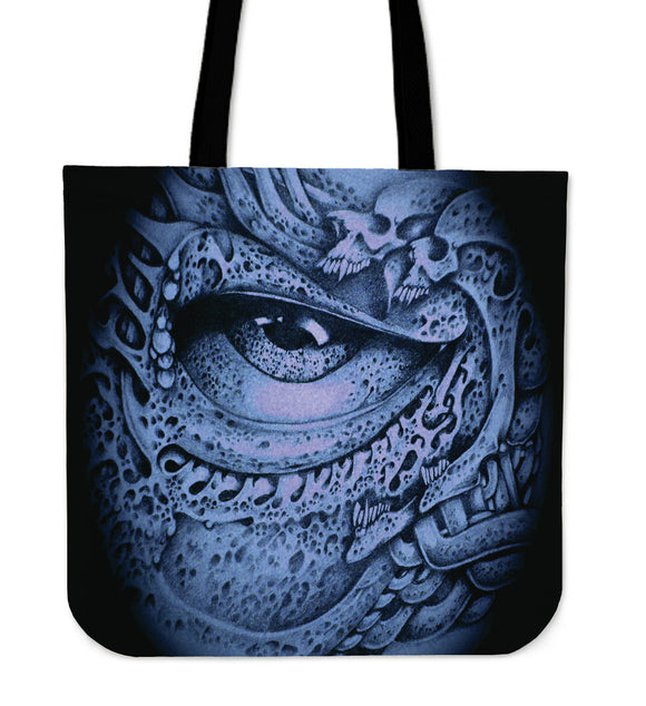 Tote Bag - Skull Eyeball blue