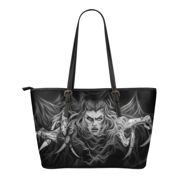 Small Leather Tote - Spider Woman b/w