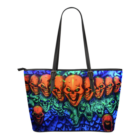 Small Leather Tote - Skull Lineup