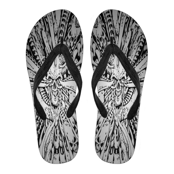 Women's Flip Flops - Skull and Pipes
