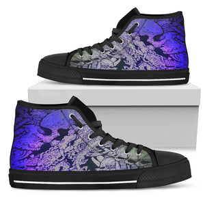 Men's High Top Shoe - Blue Skull