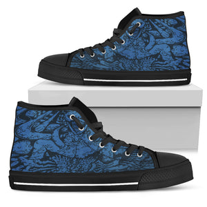 Women's High Top Shoe - Pipes blue