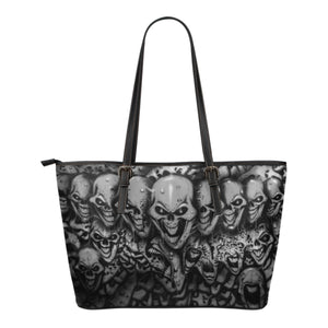Small Leather Tote - Skull Lineup b/w