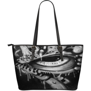 Large Leather Tote - Eyeball b/w