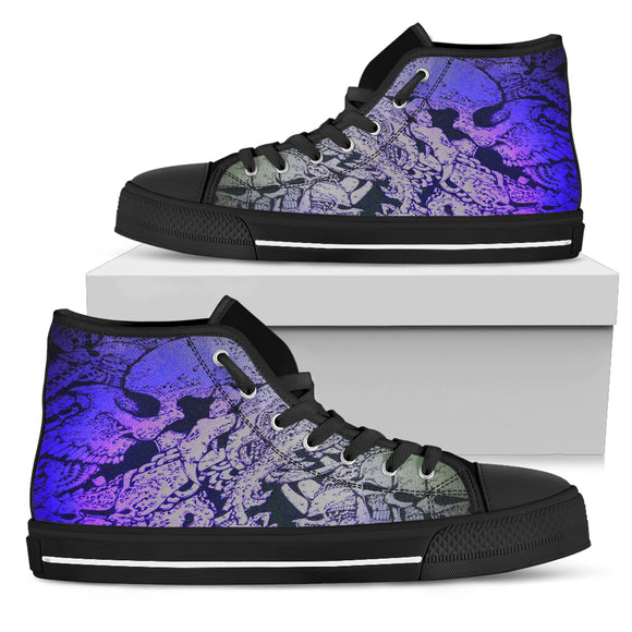 Women's High Top Shoe - Blue Skull