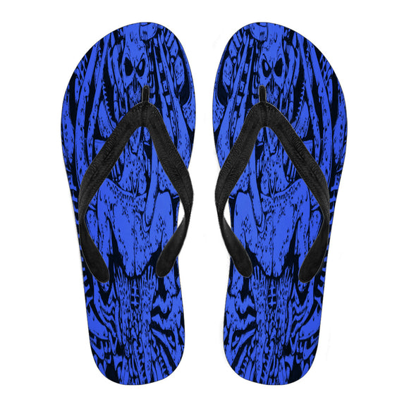 Women's Flip Flops - Blue Monster