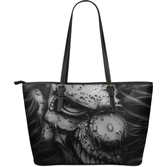 Large Leather Tote - Clown b/w