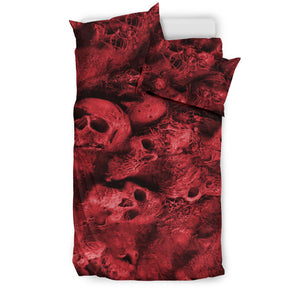 Bedding Set - Red Skull Pile - Express Shipping