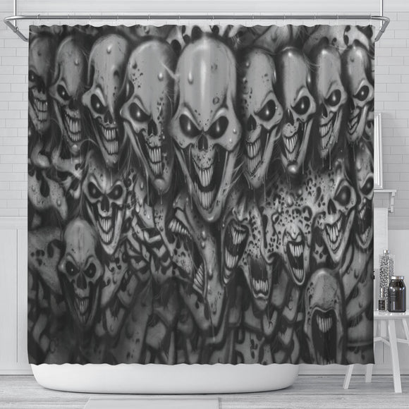 Shower Curtain - Skull Lineup b/w