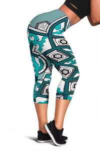 Capris - Slaya Collection - Star aqua green