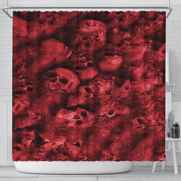 Shower Curtain - Skull Pile red