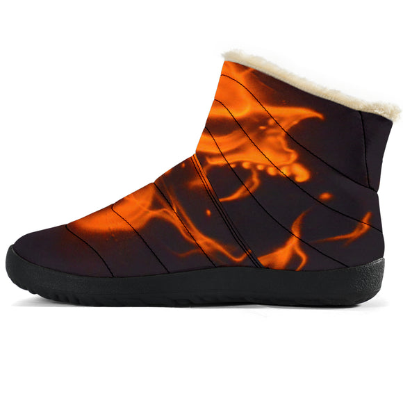 Cozy Winter Boots - Flame Skulls - Express Shipping