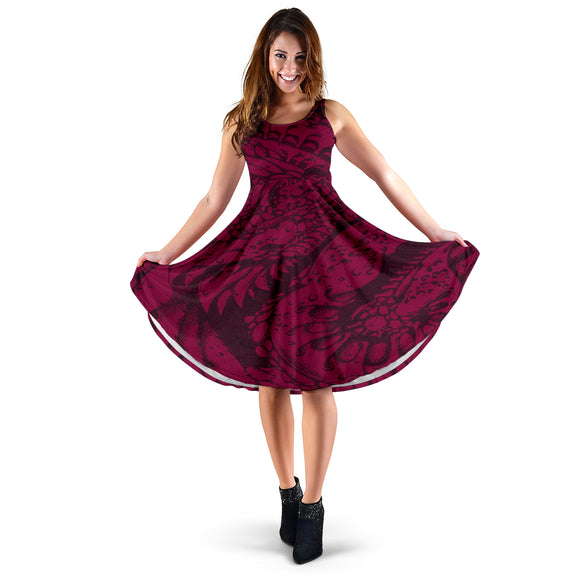 Women's Dress - Red Whirls