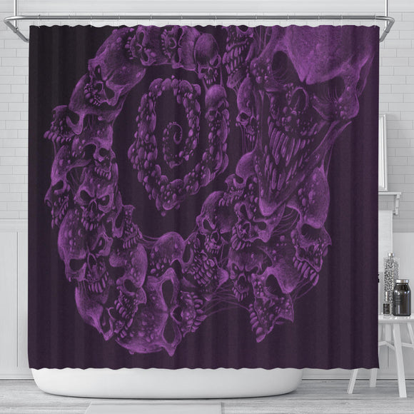 Shower Curtain - Skull Swirl purple