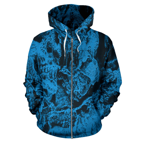 All Over Zip-up Hoodie - Skull Pile blue