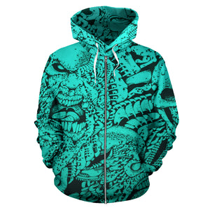 All Over Zip-up Hoodie green 01 - Faces of Evil