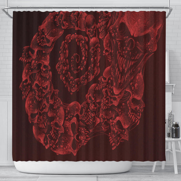 Shower Curtain - Skull Swirl red