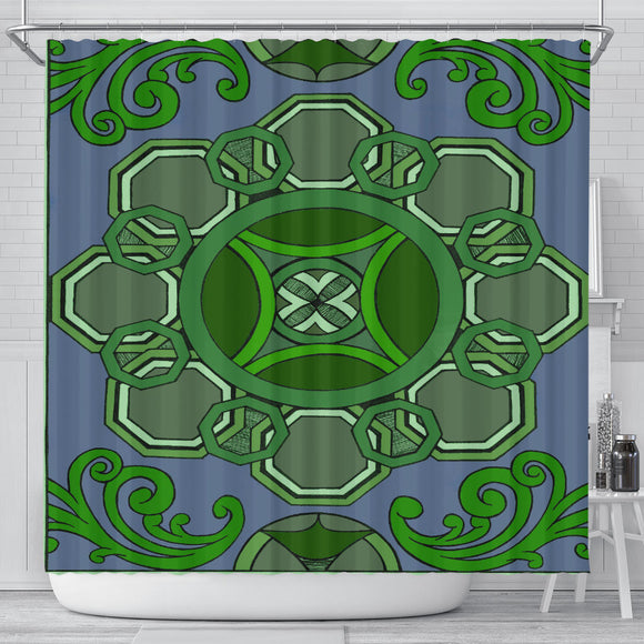 Shower Curtain - Slaya Collection - Octagon Swirl green