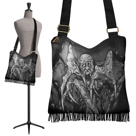 Crossbody Boho Handbag - Monster Claw b/w