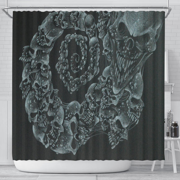 Shower Curtain - Skull Swirl b/w