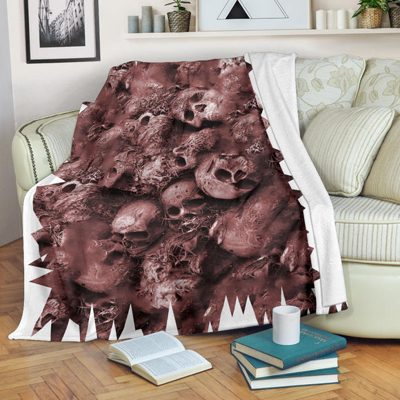 Premium Blanket - Skull Pile brown