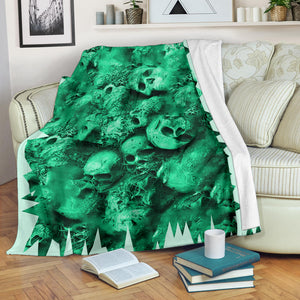 Premium Blanket - Skull Pile light green