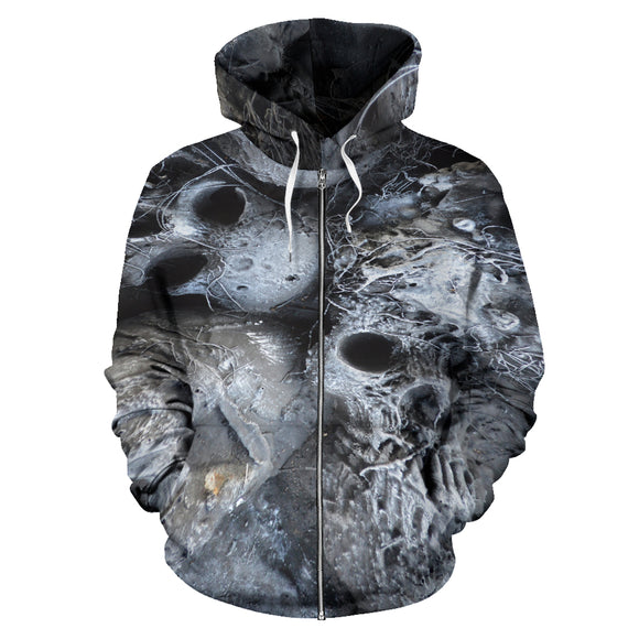 All Over Zip-up Hoodie - Skull Pile b/w