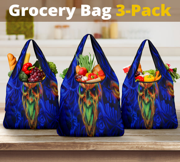 Grocery Bag 3 pack - Flame Skull