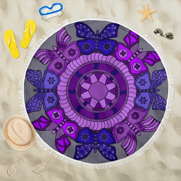Beach Blanket - Slaya's Collection - Butterfly Medallion purple