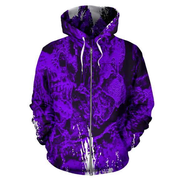 All-Over Zip-Up Hoodie - Skull Pile purple