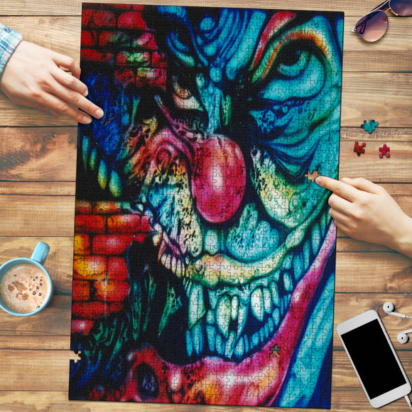 Premium Wood Puzzle - Clown Distortion