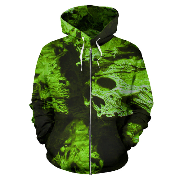 All Over Zip-up Hoodie - Skull Pile green