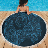 Beach Blanket - Skull Swirl blue