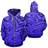 All Over Zip-up Hoodie Blue 02 - Faces of Evil