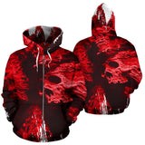 All Over Zip-Up Hoodie - Red Skull Madness