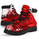 All Season Boots - Ripped Red Skull Pile