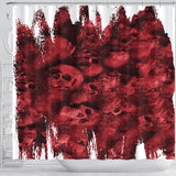 Shower Curtain - Ripped Red Skull Pile