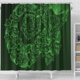 Shower Curtain - Skull Swirl green