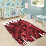 Area Rug - Ripped Red Skull Pile