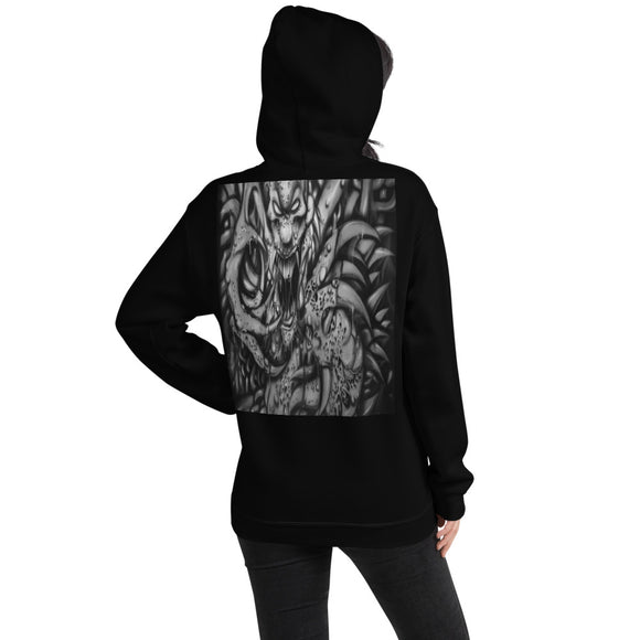 Hooded Sweatshirt - Monster with Claws1 b/w