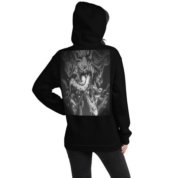 Hooded Sweatshirt - Clown Tongue1 b/w