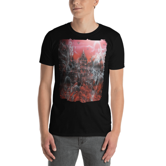 Short-Sleeve Unisex T-Shirt - Haunted House red