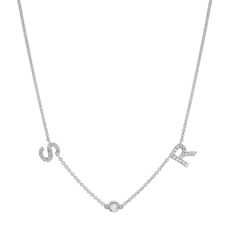 DIAMONDS: Initials and Bezel Necklace