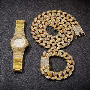 Conjunto Diamante Cubana 12MM más reloj Ice Valune - ORO 18 KILATES
