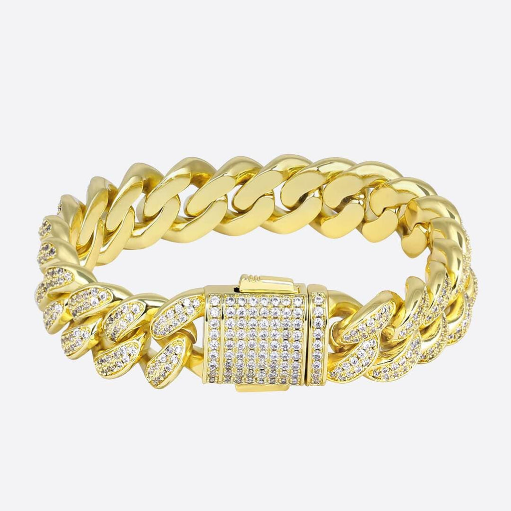 Pulsera Cubana 13mm - ORO 18 KILATES